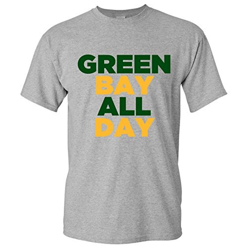 UGP Campus Apparel Green Bay All Day Basic Cotton T-Shirt - X-Large - Grey (T Packers Green Bay Shirt)