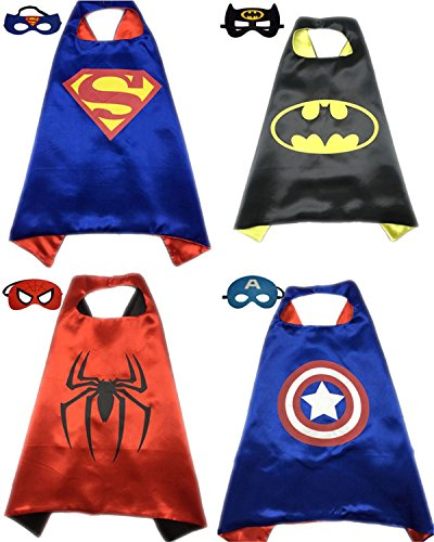 4 Pack Superhero or Princess CAPE & MASK SETS Kids Childrens Halloween Costumes