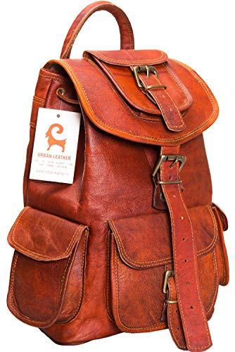 Leather Backpack Premium (Urban Leather Backpack for Men | Leather Backpack for Women | Handmade Drawstring Bag for Boys & Girls Medium Size 14 inches)