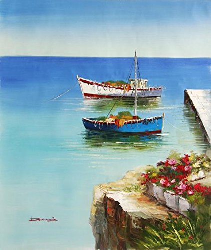 [The High Quality Polyster Canvas Of Oil Painting 'Two Small Boat Tied Up At The Wharf' ,size: 10x12 Inch / 25x30 Cm ,this Vivid Art Decorative Canvas Prints Is Fit For Hallway Decor And Home Gallery Art And] (Plastic Surgery Costume Makeup)