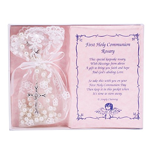 First Holy Communion White Rosary with Lace Keepsake -