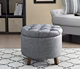 Sunjoy 120209003-G Luxury Tufted Ottoman, One Size, Gray