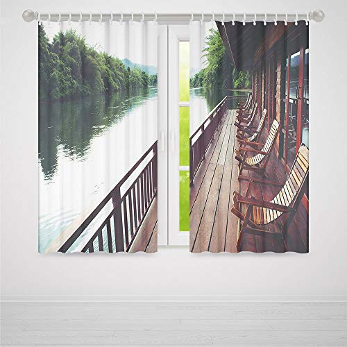 (Small Window Blackout Curtains,Asian,for Bedroom Living Dining Room Kids Youth Room,Wooden Chairs in Floating Hotel on the River Kawai in Thailand Idyllic Resort Travel2 Panel Set,37W X 51L Inches)
