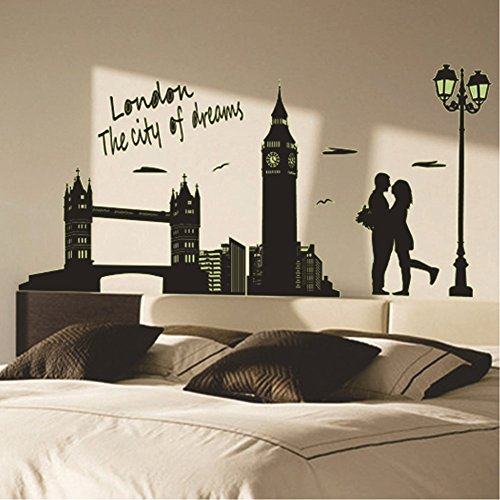 Glow in the Dark Wall Decal Stars/Moon Luminous Stickers for Kids'/Baby's Bedroom Decor DIY Art Decals (9603 London -