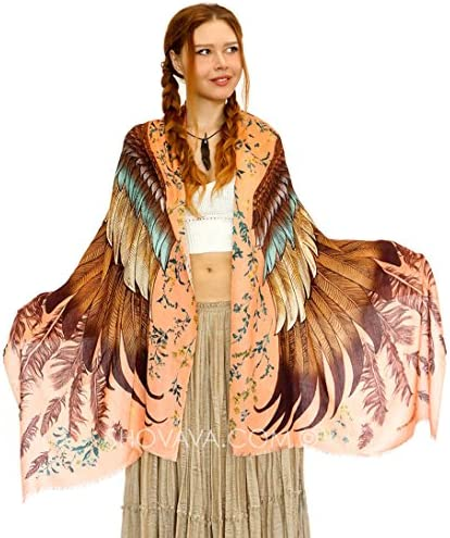 feathers Painted Printed Cotton Shawl