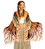 Saffron Wings Shawl Scarf. Pure Cotton Hand Painted Gold & Brown Bird Wings Scarf