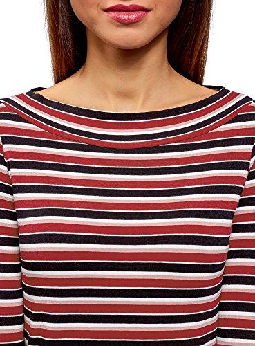 T 4 a 4929s con 3 oodji Collection Donna Maniche Multicolore Shirt RxEZq6Bwq