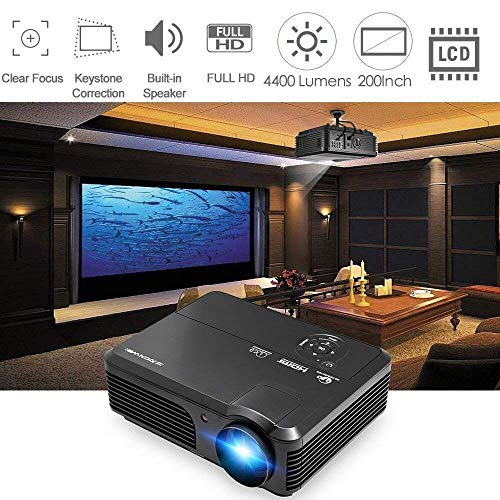 Projector 4400 Lumens Portable Home Theater LED LCD Support HD 1080P Wuxga Movie Gaming Video Proyector for Fire TV Stick Laptop Smartphone PC Xbox PS4 DVD USB RCA Audio VGA AV Dual HDMI Zoom Keystone