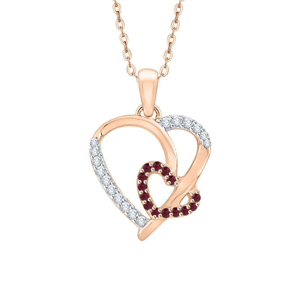 1//6 cttw, G-H, I2-I3 KATARINA Prong Set Diamond and Ruby Double Heart Pendant Necklace in Gold or Silver