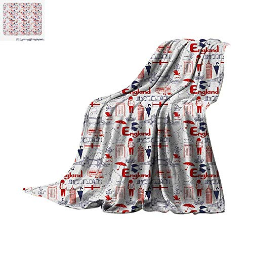 Luoiaax London Digital Printing Blanket Sketch Artwork Country British Cultural Collection in Doodle Style Oversized Travel Throw Cover Blanket 60