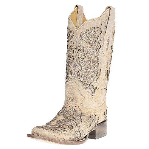 8.5 Ladies Corral Boots - Corral Boot Company Womens Ladies Glitter/Crystals Square Toe Cowgirl Boots 8.5 B(M) US White