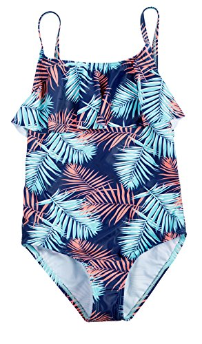 ATTRACO Big Girls Bathing Suits Print Swimsuit one Piece Size 10 Navy