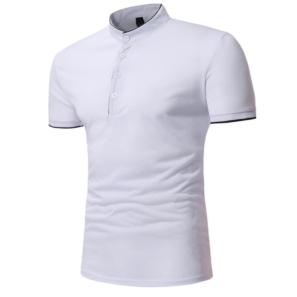 Camiseta para Hombre, Hombres Verano Casual O Cuello Manga Corta de Camisetas Ropa Deporte Camisas de Vestir t Shirt Men v(Los Botones Son Decorativos): ...