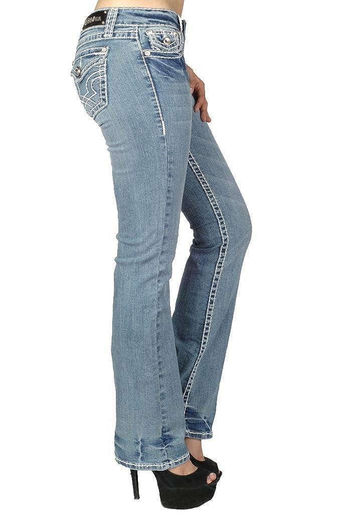 LA Idol Womens Classic Three Rhinestone Studded Boot Cut Jeans 7 Light Wash