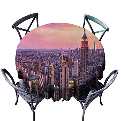 HCCJLCKS Wrinkle Resistant Tablecloth Cityscape New York City Midtown with Empire State Building Sunset Business Center Rooftop Photo Washable Tablecloth D51 -