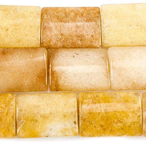 20x15mm Yellow Jade Plain Rectangle 15 inches 19 - Yellow Jade Rectangle Beads
