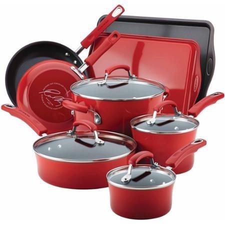 Rachael Ray Hard Enamel Nonstick 12-Piece Cookware Set ()