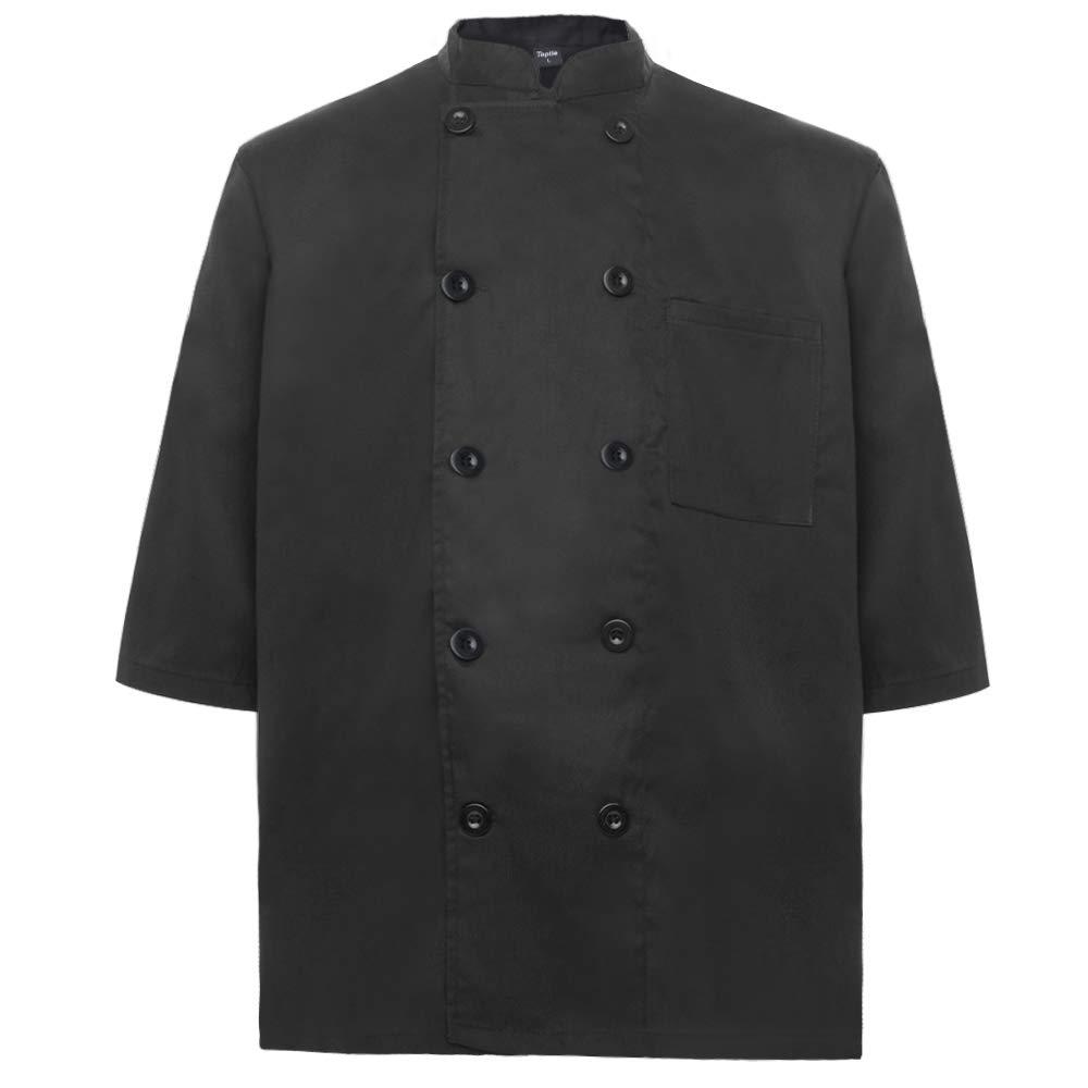 TopTie Unisex Classic 3/4 Sleeve Active Chef Coat, Black