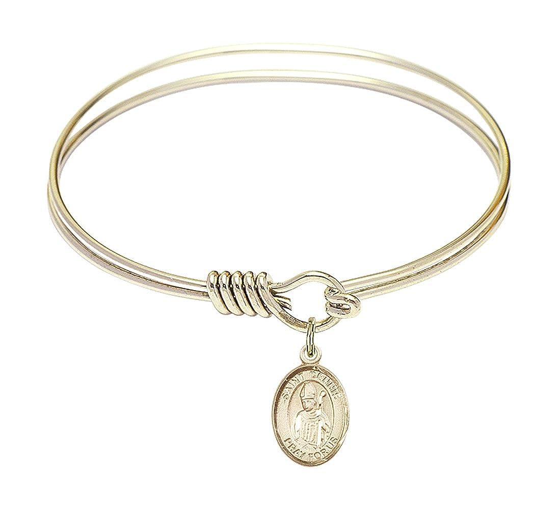 Dennis Charm On A 6 1//4 Inch Round Eye Hook Bangle Bracelet St