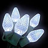 C7 LED, 25 Light COOL White Light Set - Multi-Faceted, Retro Size Bulb. These Kringle Bros Commercial Grade Lights are UL Listed and Safety Fused, Green Wire, 16.5 Ft Length - 3 Pack