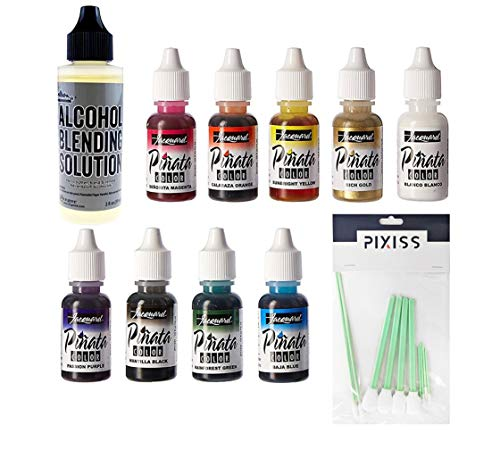 Jacquard Products JAC9916 Pinata Color Exciter Ink Pack, 8X Pixiss Ink Blending Tools Bundle, 2-Ounce Ranger Adirondack Alcohol Blending Solution