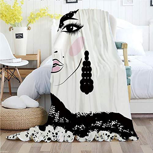 Teen Room,Throw Blankets,Flannel Plush Velvety Super Soft Cozy Warm with/Baroque Abstract Woman Face and Patterned Hat Old Fashioned Design Decorative/Printed Pattern(50
