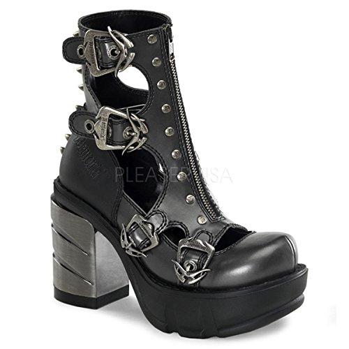 """Demonia Pleaser sinister-6131/2""""ABSL cromato tallone, 11/2"""", PF PU scarpe scarpe tacco Multi cinturino 31/2W/Picchi e cerniera frontale"""
