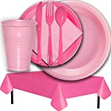 Plastic Party Supplies for 50 Guests - Pink and Hot Pink - Dinner Plates, Dessert Plates, Cups, Lunch Napkins, Cutlery, and Tablecloths - Premium Quality Tableware Set