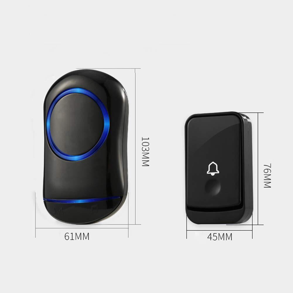 WXLAA Home Waterproof Wireless Doorbell 45 Songs Chime Door Bell 1 Transmitter 2 Receiver 300M Black EU Plug by WXLAA (Image #5)