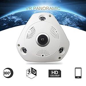 FishEye Camera,Aritone 360 degree Panoramic 960P wifi Hidden IR Camera with Light Bulb