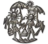 Summer Fun Decorative, Outdoor Yard Art, Recycle Haiti Metal 11″ x 11″ For Sale