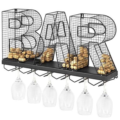 MyGift Wall-Mounted Black Metal BAR Wine Glass Rack and Bottle Cork Storage