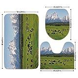 3 Piece Bathroom Mat Set,Horse Decor,Grand Teton National Park Snowy Mountains Fresh Greenery Trees Animals Decorative,Green Light Blue,Bath Mat,Bathroom Carpet Rug,Non-Slip
