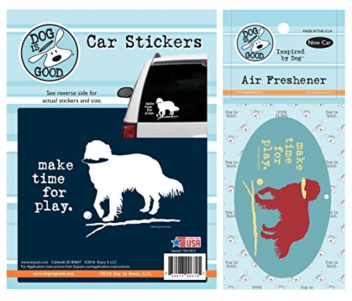 (Enjoy It Dog is Good Make Time for Play Car Sticker and Air Freshener Set)