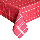Eforcurtain Luxury Gold Plaid Table Cover Rectangular Fabric Tablecloth, 60-inch By 84-inch, Red