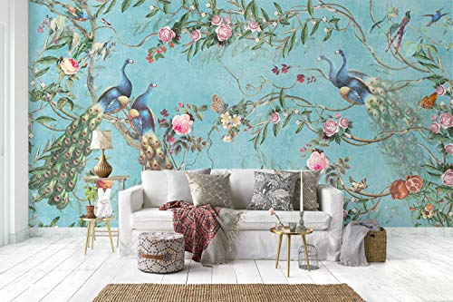 - Murwall Peacock Wallpaper Peony Blossom Wall Mural Chinese Floral Wall Print Asiatic Home Decor Cafe Design