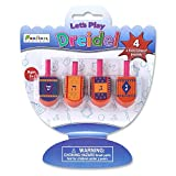 Let's Play Dreidel The Hanukkah Game 4 Multi Colored Hand Painted Wooden Dreidels - Instructions Included