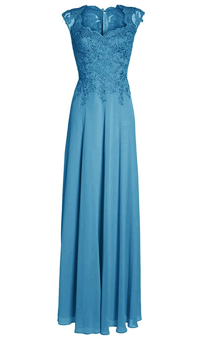 bluee Mother of The Bride Dresses with Sleeves Long Evening Gowns Plus Size Lace Mother Dress