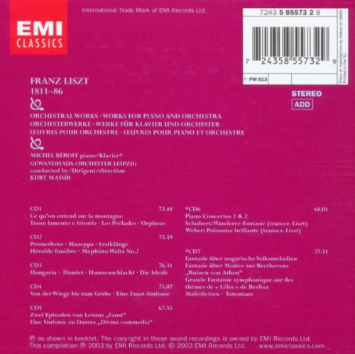 Liszt: Orchestral Works / Works for Piano and Orchestra - Michel Béroff / Gewandhaus-Orchester Leipzig / Kurt Masur by EMI Classics
