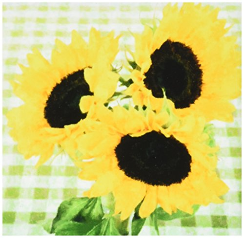 - 3dRose ct_52338_1 Country Sunflowers on Checkered Tablecloth-Ceramic Tile, 4-Inch