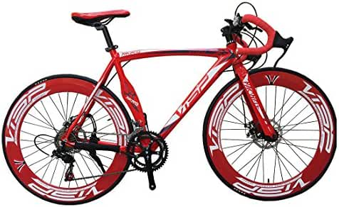 VTSP High Fashion Red 54 cm 700C 14 Gears Men Road Bike Speed Road Bicycle Mechanical Disc Brakes