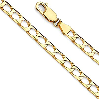 14k Yellow Gold Solid Men's 4mm Square Cuban Curb Chain Bracelet with Lobster Claw Clasp - 8""