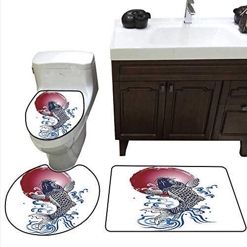Japanese Bath Rug Set Ornate Japanese Brocaded Carp Fin with Red Circular Form Eastern Sea Colored Graphic Toilet Floor mat Set Blue ()