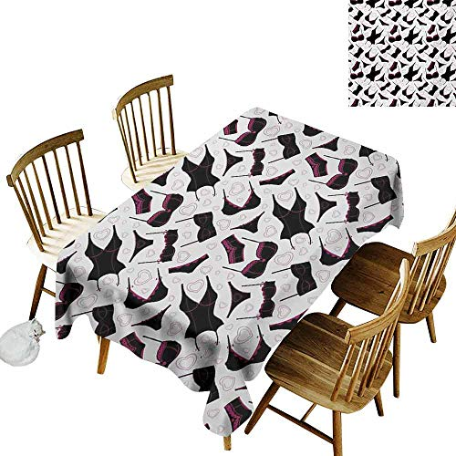 Mannwarehouse Retro Stain-Resistant Tablecloth Lingerie Pattern Brassiere and Panties with Hearts Women`s Fashion Underwear Easy to Clean W54 x L90 Black Fuchsia White