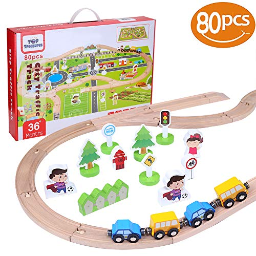 80 Piece Wooden Train Set | Includes Toy Trains, Play Mat & More Wooden Toys Accessories| 100% Compatible with Thomas Wooden Railway & Brio Train Set | Wooden Toy Train Set (80pcs) ()