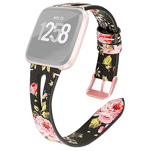 Watch Band for Fitbit Versa Lite,Floral Print Leather Wrist Watch Strap Replacement Bracelet Sport Wirstband Adjustable Band + Watch Film for Fitbit Versa Lite Women Girl (A)