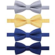 Ausky 4 Packs Adjustable Pre-tied Bow Tie for Infant Baby Boys Toddler Child Kids in Different style color (Kids G)