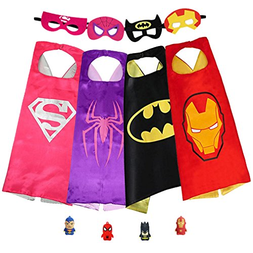 SPESS Superhero Capes Kids Birthday Party Favor Idea Dress Costume Set with Mask for Girls and Boys Reversible Stain Cartoon Cape -
