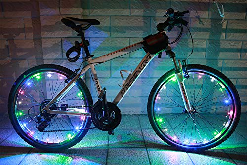 MAGINOVO 2 Pack Led Bike Wheel Light | Waterproof Bicycle Tire Light | Safety Battery Spoke Lights | Cool Bike Accessories and Decoration for bicyclers to Ride at Night (Multi-Color)