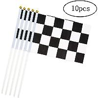 DierCosy Cuadros Palo de la Bandera 10PCS / Banderas Paquete Negro Acabado en Blanco Mano Que